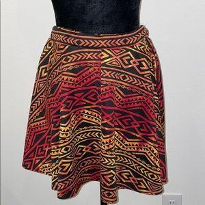 See You Monday Tribal Print Skater Skirt